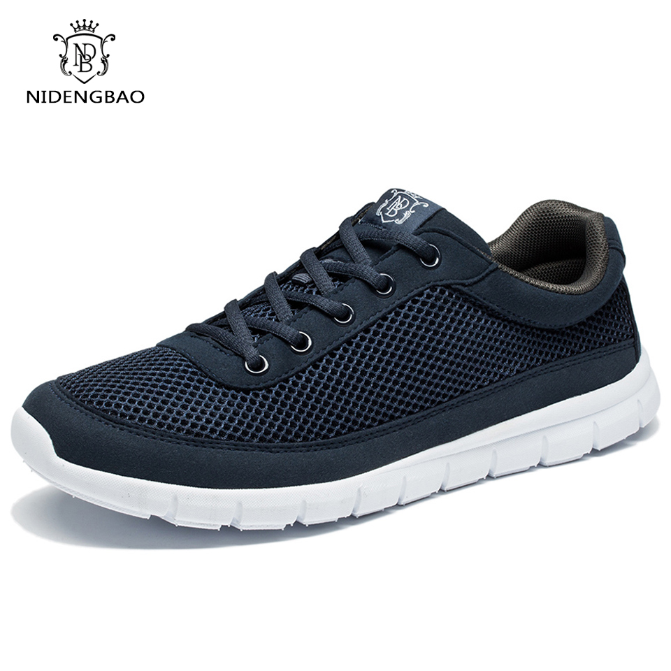 Brand <font><b>Shoes</b></font> Men Casual Breathable Lace-Up Walking Footwear Lightweight Comfortable Mesh Sneakers Men <font><b>Shoes</b></font> <font><b>Black</b></font> Plus Size 49 50
