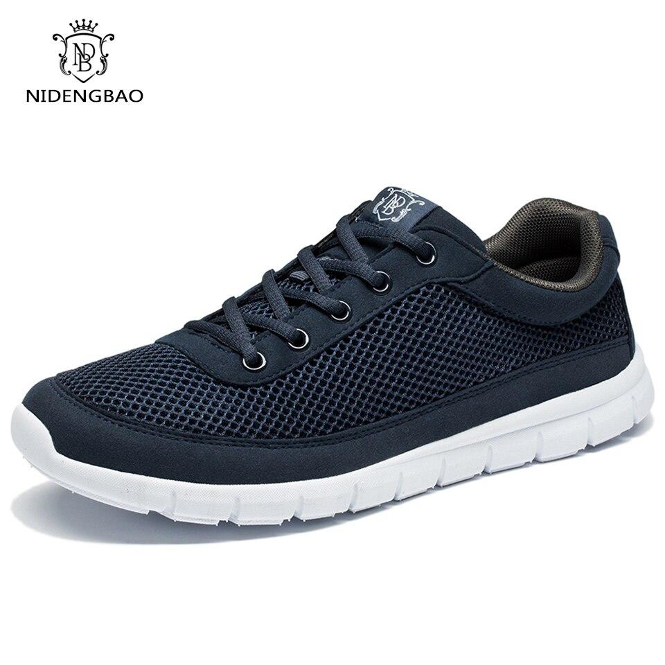 Zapatos de marca zapatos casuales de los hombres de encaje respirable-caminar calzado ligero cómodo zapatillas de deporte de malla zapatos de los hombres negro Plus tamaño 49 50