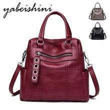 цены на 3-in-1 Women Leather Backpacks Travel Ladies Bagpack Vintage Female Shoulder Bag Sac a Dos Mochilas School Bags For Girls Preppy  в интернет-магазинах