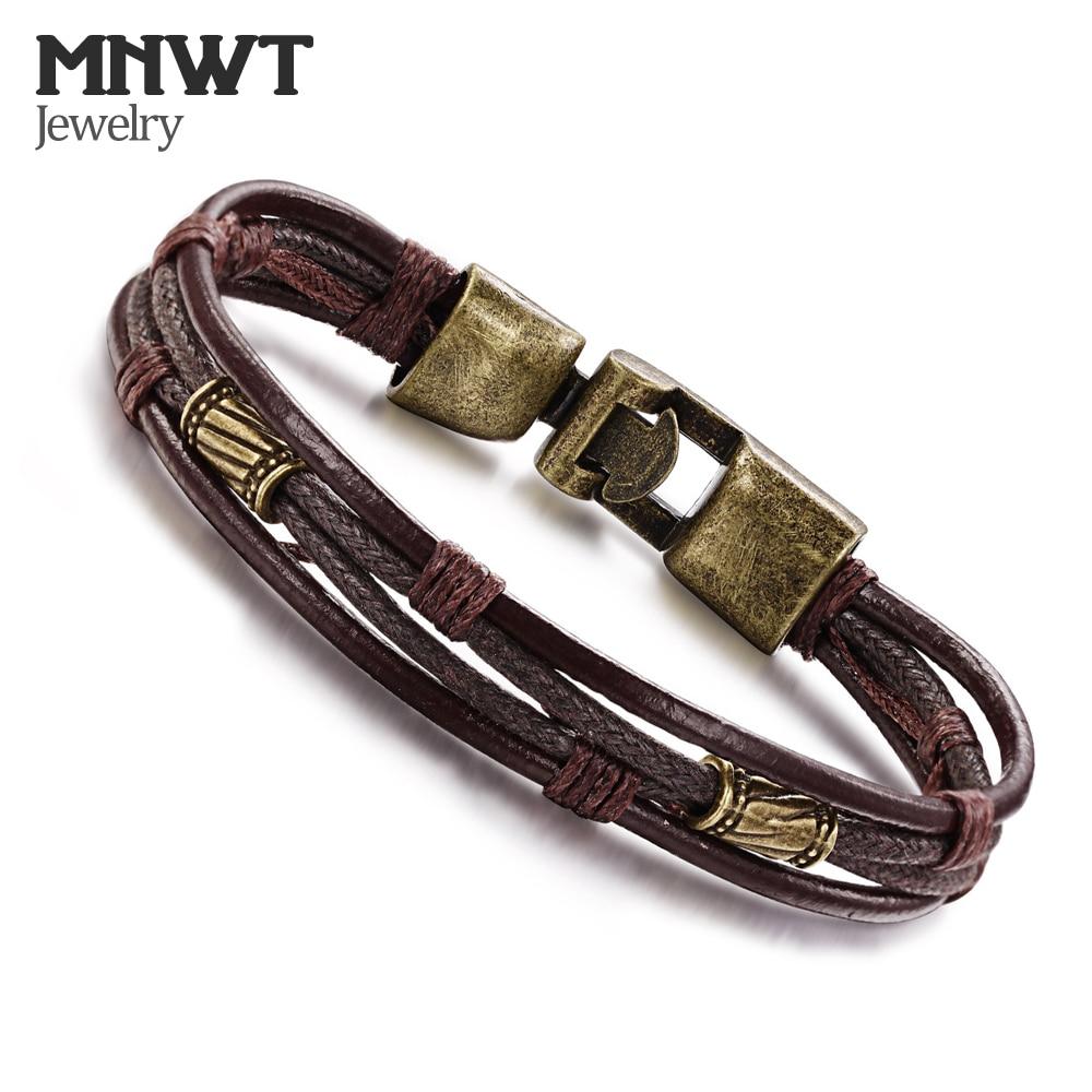MNWT Vintage Design Punk Leather Bracelet 2 Color Silver & Bronze Fashion Clasp Multilayer Braid Rope Bracelets for Men Jewelry