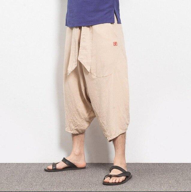 2016 Новая мода повседневные брюки летние льняные брюки мужская одежда 7 капри свободные шаровары певица костюмы брюки