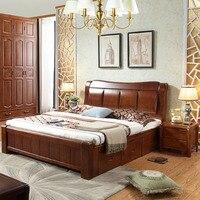 Мебель для спальни двойной коробка из массива дерева кровать