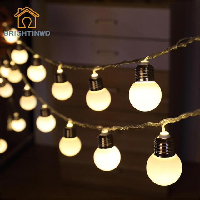 Novedad 5 M 20 LED G45 Globo Adorno de la Bola Del Partido de la cadena lámparas de bombilla led de cadena luces de Navidad jardín Luces de hadas de la boda guirnalda