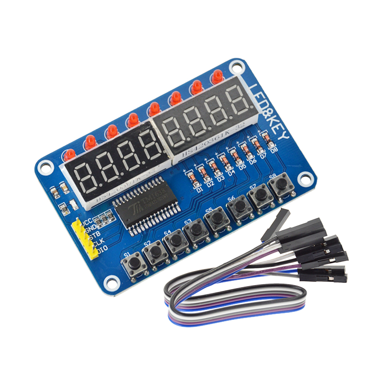 5PCS Smart Electronics 8-Bit Digital LED Tube 8-Bit TM1638 Key Display Module for arduino AVR Authentic High Quality