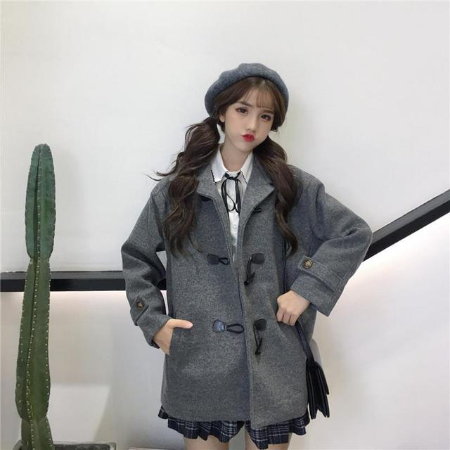 6452da2aadb3 Woolen Coat Female 2018 Autumn Winter Korean Version Preppy Style Loose  Long Length Horn Button Coat Women
