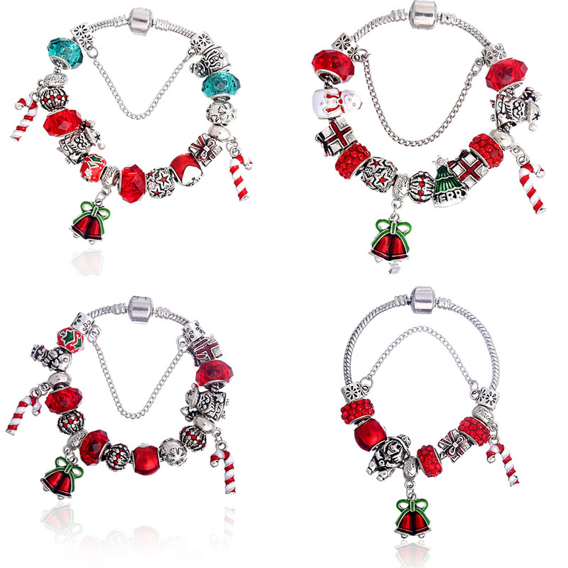 2018 Christmas Gift 4Pcs/lot Red P Bracelet Women Santa Claus Beads Fine Bracelets Bangles Female Jewelry ...
