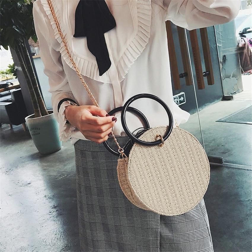 TOYOOSKY 2018 Women Handmade Round Beach Shoulder Bag Circle Straw Bags Summer Woven Rattan Handbags Women Messenger Bags 1