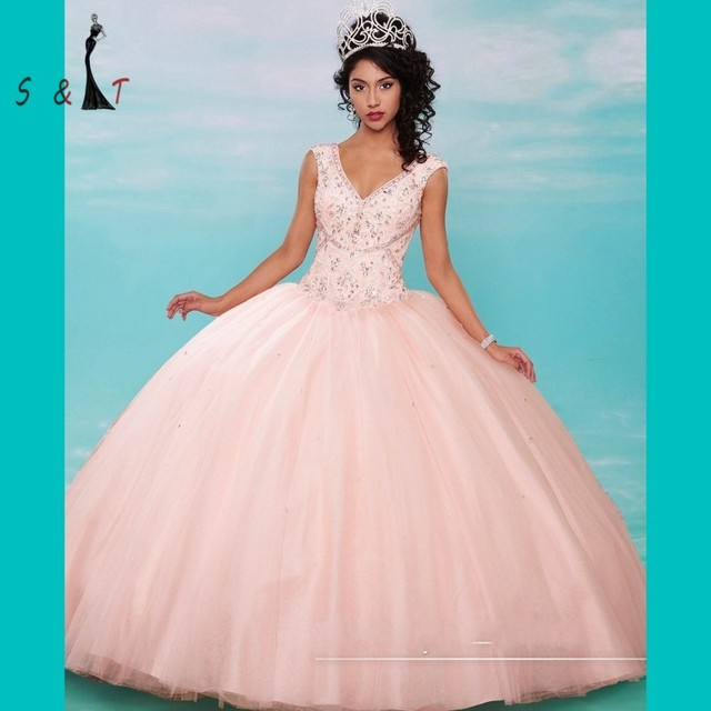 Newest Cap Sleeve V Neck Quinceanera Dresses 2016 Peach Coral Beaded ...
