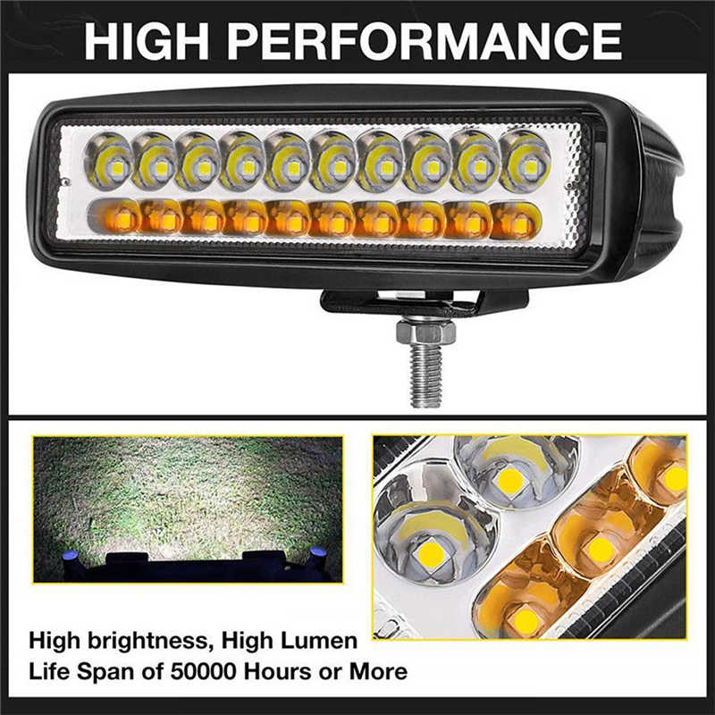 High quality Car LED Work Light 6 inch 60W 20LED 12V Car  Off-road Work Light Flood Beam Driving Fog Lamp Bar