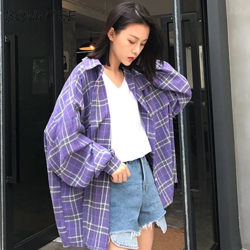 Shirts Loose Harajuku Korean Style Fashion Women New Single Breasted BF Sunscreen School Students Long Sleeve Womens Shirt Daily