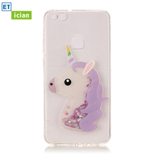 Фотография Bling Case For Huawei P10 Lite Luxury Glitter Cute Unicorn TPU Transparent Cover For Huawei P10 Lite Phone Accessory Girl