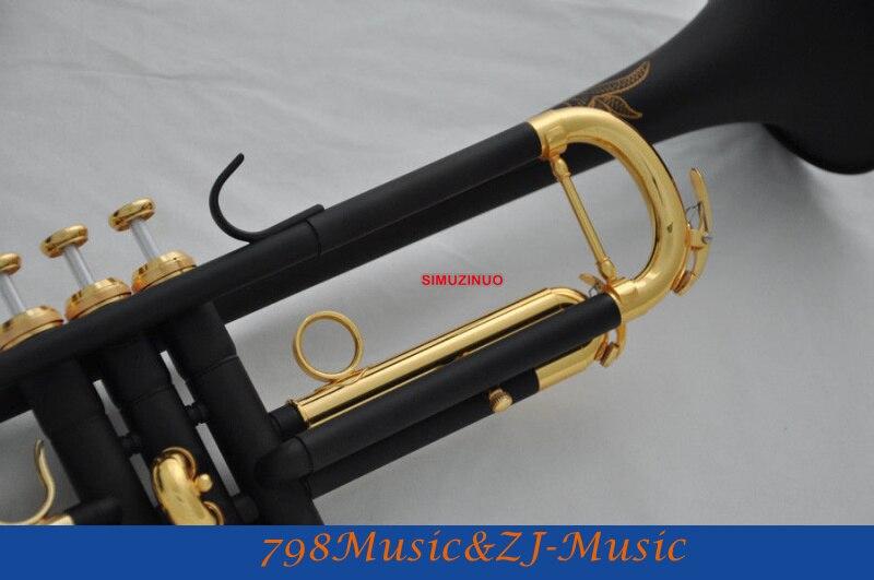 Профессиональный матовый черный никель Позолоченный Bb Труба Рог Монель Клапан гравировка+ чехол