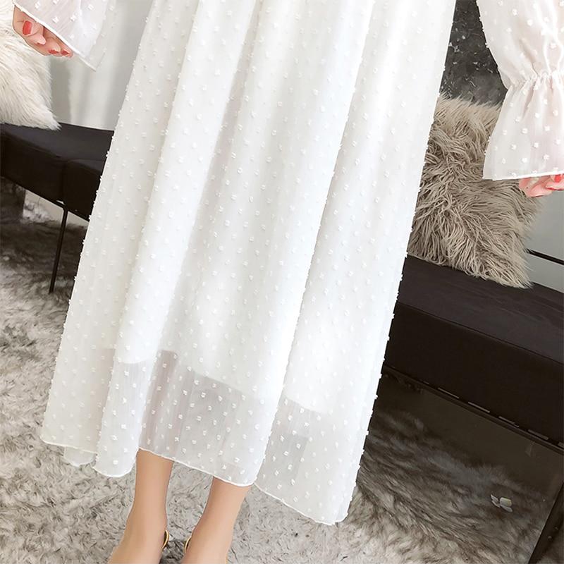 BGTEEVER Ruffles Polka Dot Women Chiffon Dress Elastic Waist Flare Sleeve Female Long Vestidos A-line White Dress 19 22
