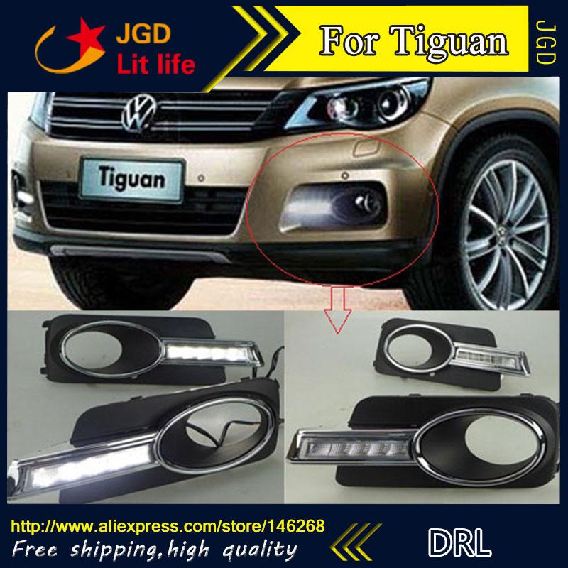Free shipping ! 12V 6000k LED DRL Daytime running light for VW Tiguan 2009-2012 fog lamp frame Fog light Car styling led daytime running light led drl for vw tiguan led daylight led car fog lights