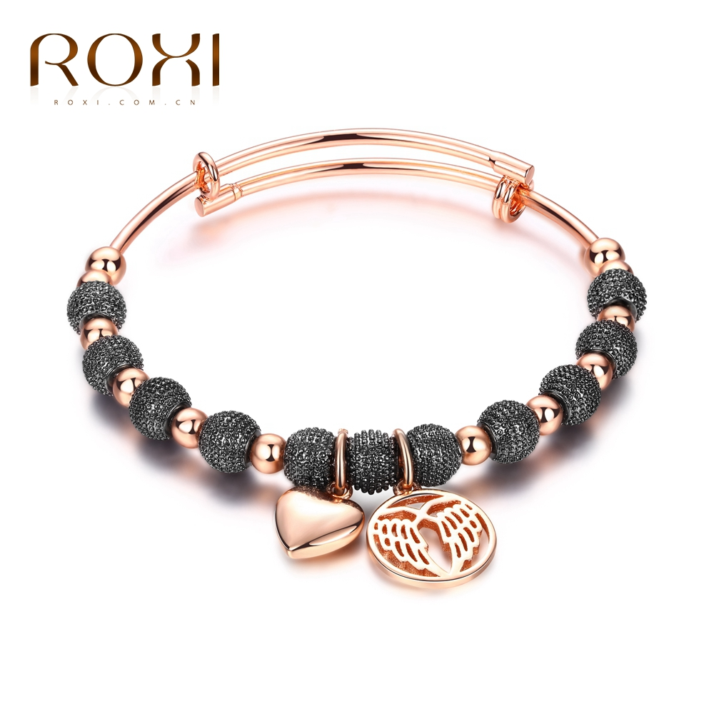 ROXI Fashion Bracelets & Bangles For Women Rose Gold Color Charm Lovely Wing Pendant Bracelet Beads Jewelry pulseira feminina все цены