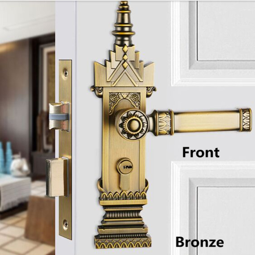 retro creative indoor solid wooden door mute locks antique bronze antique copper zinc alloy bedroom bookroom kitchen door lock european fashion ivory white bedroon door handles antique bronze mute wooden door lock gold indoor locks modern simple