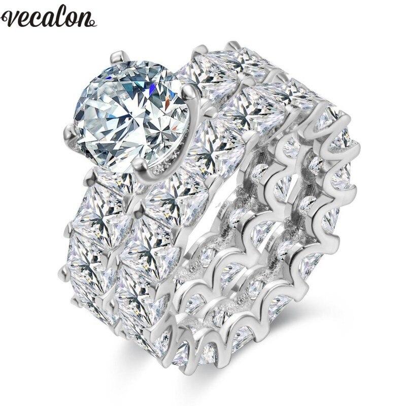 Vecalon 925 Sterling Argent bague D'éternité 6mm 5A Zircon Sona Cz Engagement wedding Band anneaux pour femmes De Mariée Doigt bijoux