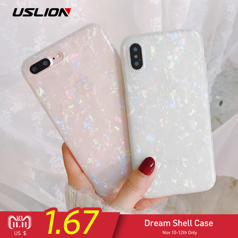 USLION Glitter Phone Case For iPhone 7 8 Plus Dream Shell Pattern Cases For iPhone XR XS Max 7 6 6S Plus Soft TPU Silicone Cover caseme for iphone 6s plus 6 plus wallet retro split leather cover with detachable pc case blue