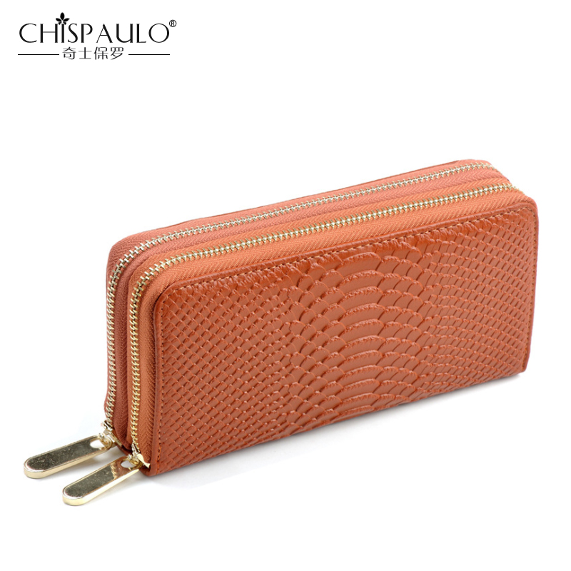 2018 Women Genuine Leather Wallets Famous Brand Fashion serpentine Double Zipper Ladies Clutch Bag High Quality