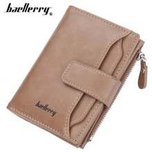 2019 Baellerry Men Short Design Wallets Fashion Zipper Leather Purse Solid Card Holder Coin Pocket High Quality Male