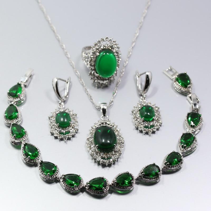 Water Drop 925 Silver Green Zircon Women Jewelry Set Ring