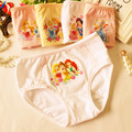 4 unids/lote 2016 moda de algodón para niños niñas pantalones cortos calzoncillos de encaje bragas del boxeador de dibujos animados ropa interior cómoda respirable 2-10 T