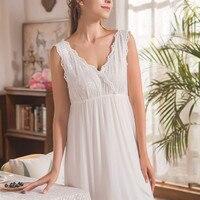 Luxury Sleepwear Women V neck Vintage Dress Lace Gown Soft Nightgown Cotton Sleep Wear White Sleeveless Elegant Nightdress