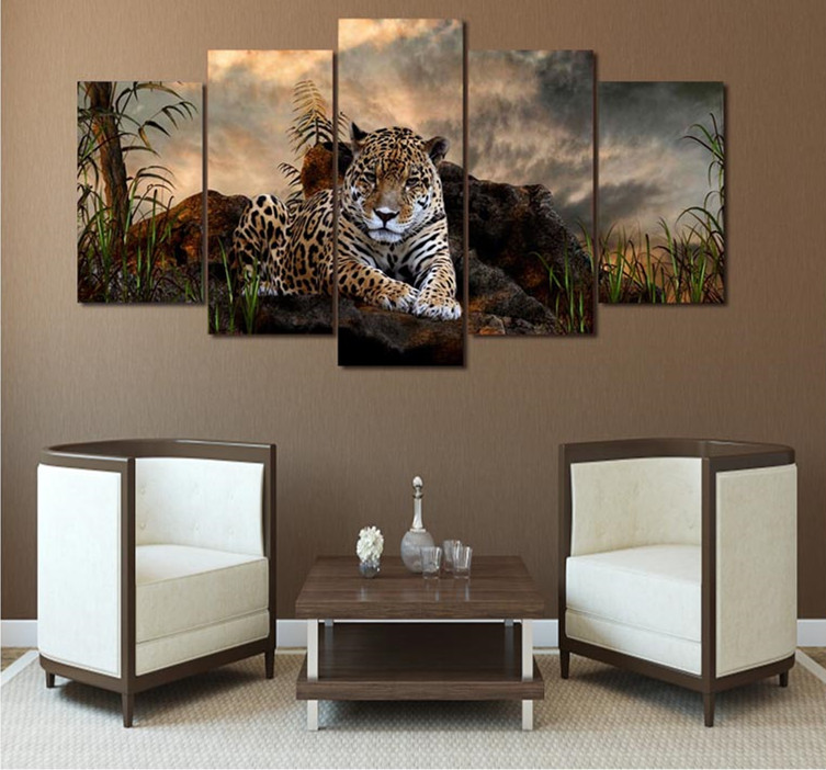5 unidades 5d DIY diamante leopardo montaña pintura Cruz puntada ...