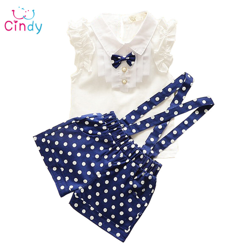 2017 New Summer style Kids Clothing Set T Shirt And dot shorts Pants 3 Colors Children Girl Clothes Sets For Free Shipping