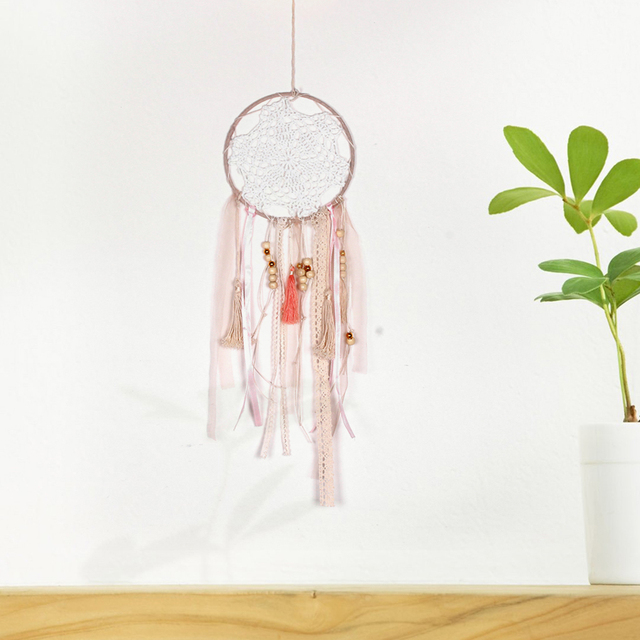 Us 3 68 30 Off Home Indian Style Wood Bead Pendant Dream Catcher Dreamcatcher Wall Art Ornament Hanging Decor Supplies In Wind Chimes Hanging