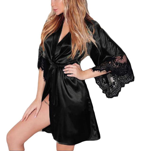 Sexy Silk  Belt Bath Lace Lingerie Robe