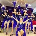 Moda Estilo Abertura Strass Dança Bodysuit Saia De Penas Cocar Fêmea Traje Trajes Cantor Roupas Desempenho Conjunto