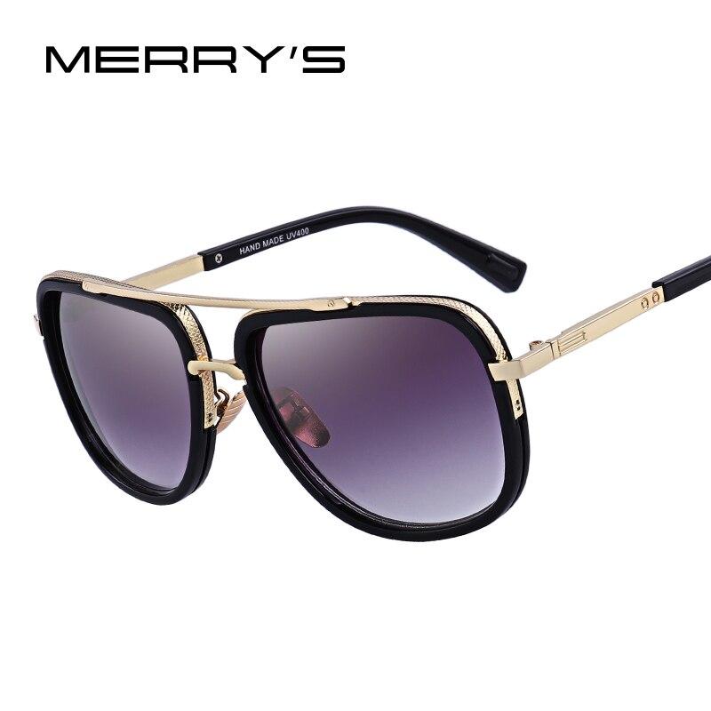 MERRY'S de los hombres de la moda gafas de sol clásico de las mujeres de la marca de Metal cuadrado gafas de sol UV400 protección S'662