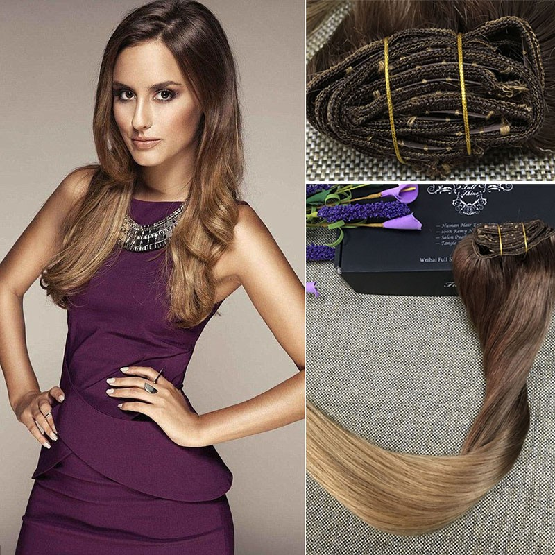 Full-Shine-Balayage-Color-5-Ombre-27-Brazilian-Remy-Human-Doulbe-Weft-Clip-Hair-Extensions-Real02