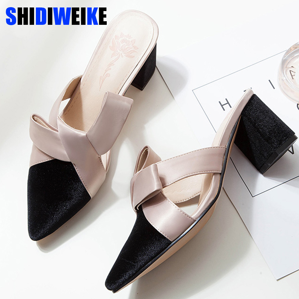New Arrival 2019 bowknot Women Slippers pointed Toe High heels Slippers Ladies Fashion women Shoes zapatos mujer n960New Arrival 2019 bowknot Women Slippers pointed Toe High heels Slippers Ladies Fashion women Shoes zapatos mujer n960