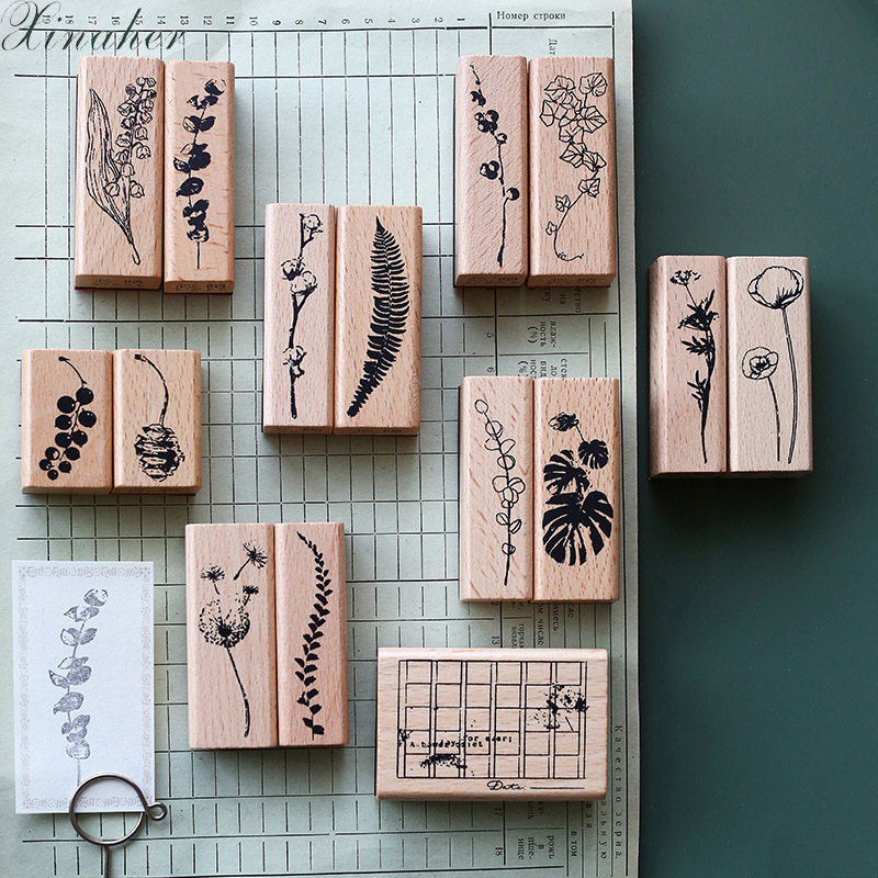 XINAHER 1set Vintage Plants Leaf Decoration Stamp Wooden Rubber Stamps For Scrapbooking Stationery DIY Craft Standard Stamp