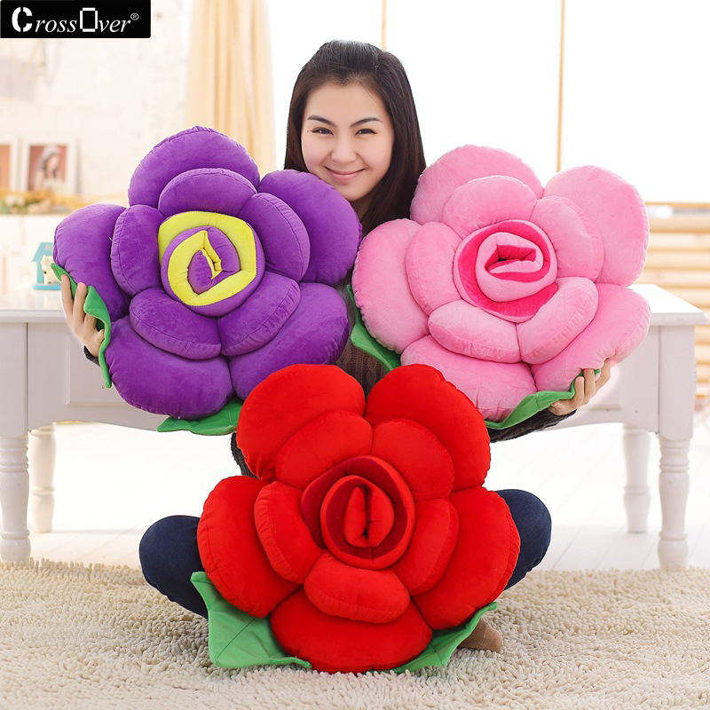 Roses Valentine S Day With Stuff Toys : Stereoscopic rose pillow cushion plush flower