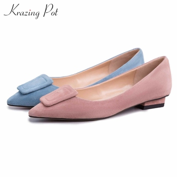 Krazing pot popular hot sheep suede pointed toe square buckle low heel movie star graceful elegant Summer streetwear pumps L29