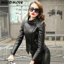 Women Spring Autuman Silm Genuine Leather Coat Short Style Motorcycle leather Jackets Plus Size 4XL Real Sheepskin Jacket