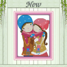 The first valentine's day lovers paintings counted printed on canvas DMC 11CT 14CT kits Cross Stitch embroidery needlework Sets(China)