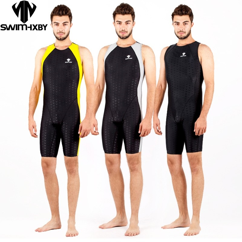 Mens one piece swimwear competitive swimming racing swimsuits suit men competition swimsuit knee boys swim professional plussize