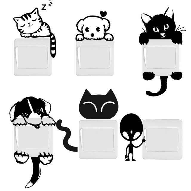 Бесплатная доставка DIY Забавный милый стикер для выключателя с изображением животного для домашнего декора кошки и собаки с узором с пришельцами обои