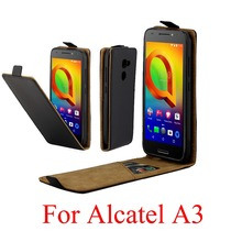 For Alcatel A3 5046 5046Y 5046D Cover Luxury PU Leather Flip Case Vertical Open Down Up