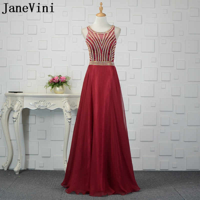 JaneVini Shiny Gold Beaded Burgundy Bridesmaid Dresses Long Sexy Illusion Wedding  Party Dress 2018 Organza Party 6e906dfa772f