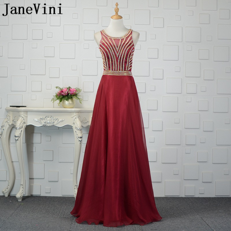 JaneVini Shiny Gold Beaded Burgundy   Bridesmaid     Dresses   Long Sexy Illusion Wedding Party   Dress   2018 Organza Party   Dress   for Prom
