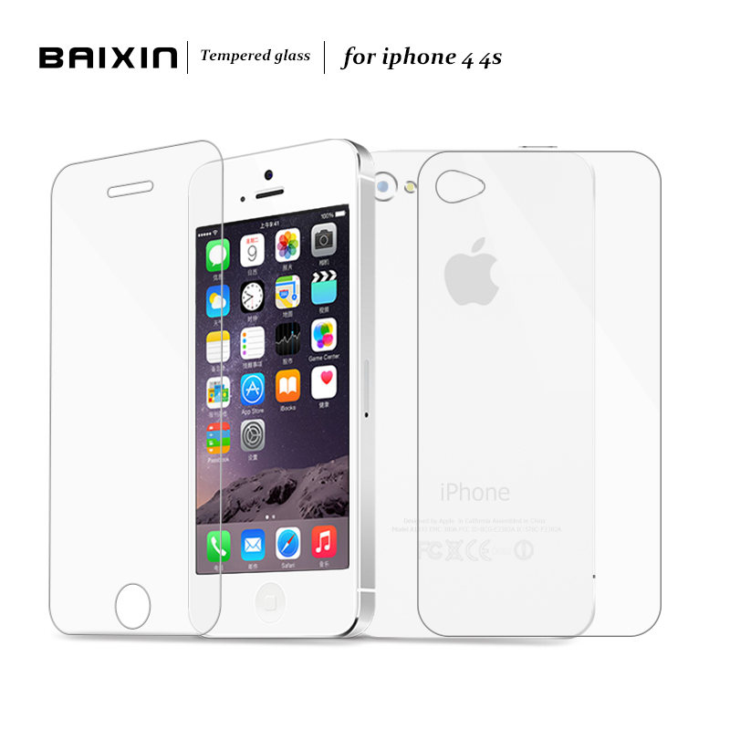 Baixin 2pcs/lot Front + Back 0.3mm 2.5D HD Ultra Thin Tempered Glass for iPhone4 4S Screen Protector for iPhone 4 4G 4S Film