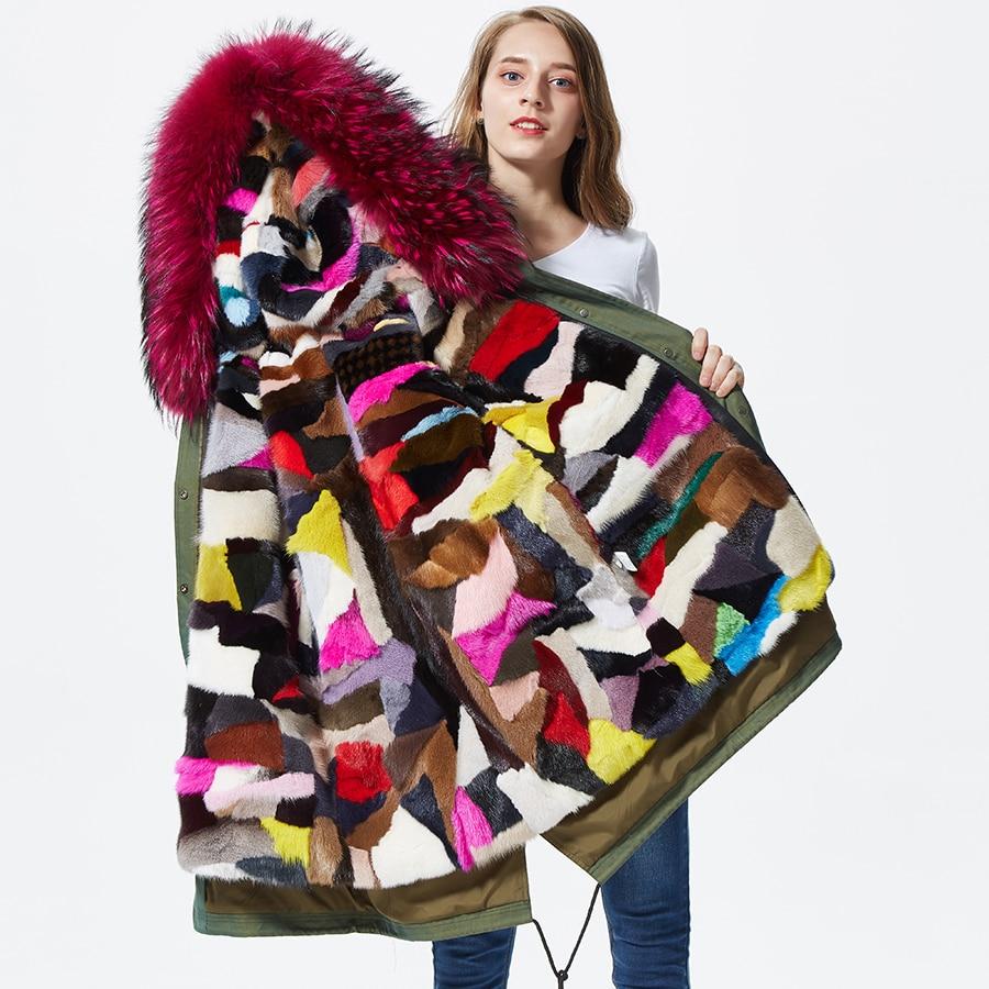 Real mink fur parkas feminina Outwear Parkas for Women Winter mink fur patchwork lined
