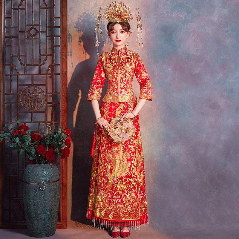 Antique rouge chinois femmes Qipao Vintage Suzhou broderie Dragon Phoenix mariée robe de mariée pleine longueur Tang costume vêtements