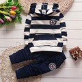 BibiCola boys spring autumn clothing set long sleeve hooded shirt and pants two pieces Striped sweatshirt casual outfit for boy