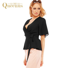 Queenus Women Blouse 2017 Summer Free Shipping Flare Sleeve V Neck Black Fashion Tie Waist Elegant Lady Top Casual Women Shirts